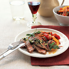 Roast Lamb with Peppers and Mint Gremolata