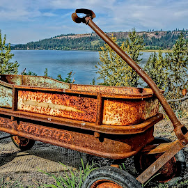 The Ugly and the Beautiful by Barbara Brock - Artistic Objects Antiques ( lake coeur d'alene, rusty wagon, rusty red wagon )