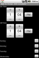 Screenshot of WiFi Scheduler