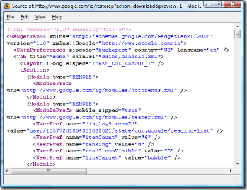 igoogle-xml-export