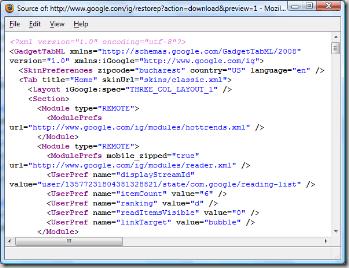 igoogle-xml-export