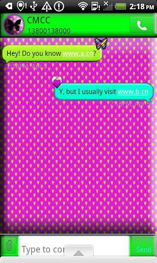 GO SMS THEME HeartsNButterflys