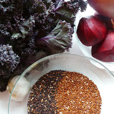 Warm Red and Black Quinoa Salad with Roasted Kale and Beets