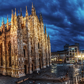 Piazza Duomo by Andrea Conti - City,  Street & Park  Historic Districts ( clouds, milan, gothic, church, dome, piazza duomo, duomo, monuments, sky, italia, vista, cathedral, night, square, italy, milano, panoramic )