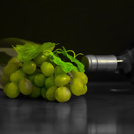 Wine by Stephen Smith - Food & Drink Alcohol & Drinks ( wine, selective, color, grapes, green, white, glass, bottle, black )