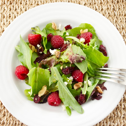 Baby Lettuce Salad with Raspberries, Cranberries, and Feta