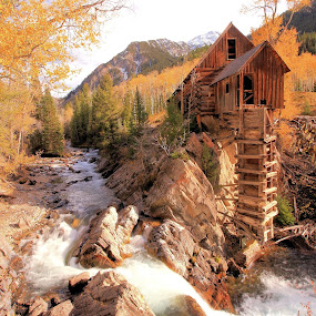 Autumn at Crystal Mill by Roxie Crouch - Buildings & Architecture Decaying & Abandoned ( silver mine, autumn, crystal mill, crystal river, colorado, compressor,  )