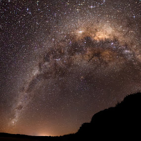 Walkers Beach Milky Way Panorama #1 by Ian Mills - Landscapes Starscapes ( stars, star trails, panorama, walkers beach )