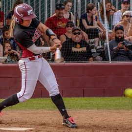 Trezona leads off the seventh with a single up the middle. by Matt Folsom - Sports & Fitness Baseball ( sierra college softball, sac city, 2015 )