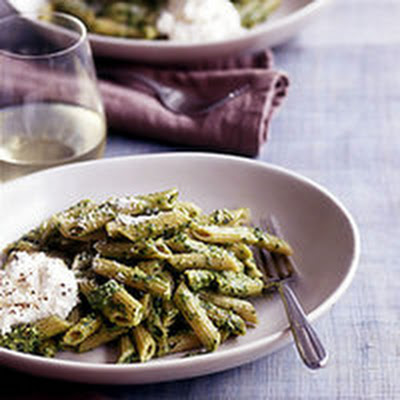 Whole Wheat Penne with Pesto and Ricotta