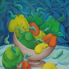 Fruit Bowl with Blue Background  2006 by Sacha Circulism - Painting All Painting ( circulism, still life, fruits, art, sacha )