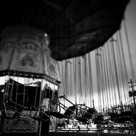 Awesome. by Julie Dabour - City,  Street & Park  Amusement Parks ( blackandwhite, photography, creepy, rides, carnivals, festivals, empty, greatallentownfair, allentown, pennsylvania )