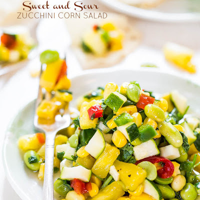Sweet and Sour Zucchini Corn Salad (vegan, GF)