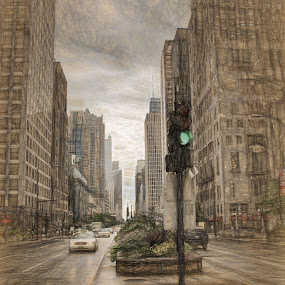 Michigan Ave by Dennis Granzow - Digital Art Places ( illinois, street scene, chicago, travel, michigan ave )