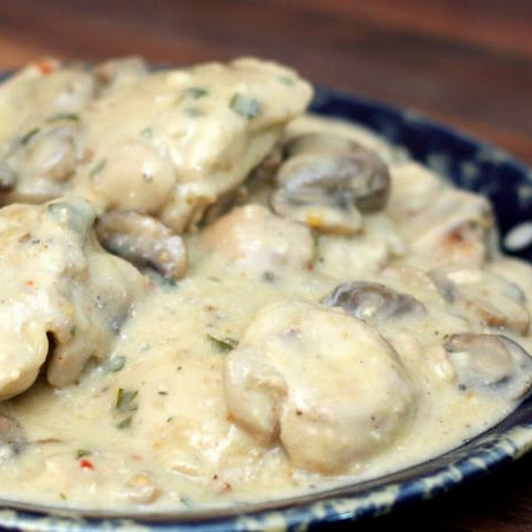 Chicken Thighs With Mushroom and Wine Sauce
