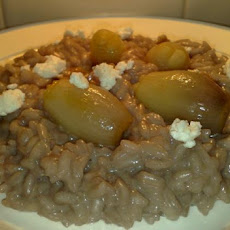 Red Wine and Goats Cheese Risotto With Caramelised Baby Onions