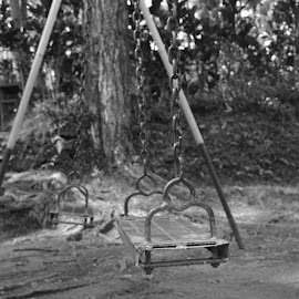 Sway Me by Chine Balinto - Novices Only Objects & Still Life ( playground, park, black and white, swings, street )