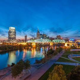 Nashville Riverfront by Devin Williams - City,  Street & Park  Skylines ( tn, skyline, riverfront, nashville, downtown )