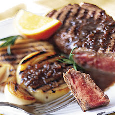 Grilled Steak and Onions with Rosemary-Balsamic Butter Sauce