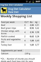 Screenshot of Dog Raw Diet Calculator