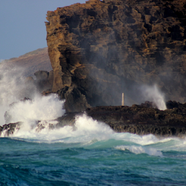 Halona Blowhole by Mina Thompson - Landscapes Beaches ( sandy beach, waves, halona, weather, north shore, hawaii )