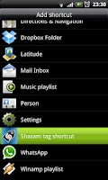 Screenshot of Shazam tag shortcut