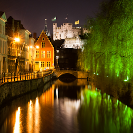 Historical Ghent by Sandy Spaenhoven - City,  Street & Park  Historic Districts ( reflection, europe, centre, street, cultural, reflections, house, willow, shot, heritage, city, belgian, lights, gent, light, evening, ghent, water, houses, gravensteen, church, colors, green, belgium, lievekaai, flemish, colours, weeping, night, town, bridge, historical, medieval, river,  )