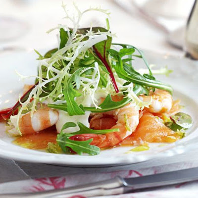 Smoked Salmon With Prawns, Horseradish Cream & Lime Vinaigrette