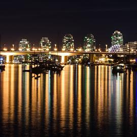Vancouver by Cory Bohnenkamp - City,  Street & Park  Skylines ( skyline, false creek, night, landscape, vancouver, city )