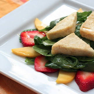 Crispy Tofu, Strawberry, & Mango Salad