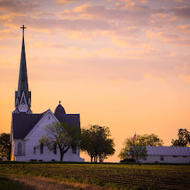 Faith in the morning by Bill Stipp - Buildings & Architecture Places of Worship ( sunrise morning, countryside, church, texas, rural )