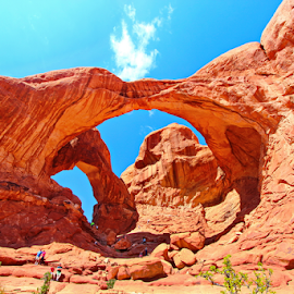 Double arch. by Dipali S - Landscapes Deserts ( landmark, red, desert, arches national park, utah, arches, sandstone, landscape, double arch, color, colors, portrait, object, filter forge )