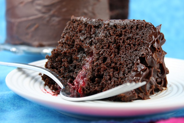 Double Chocolate Cake with Raspberry Filling Recipe | Yummly