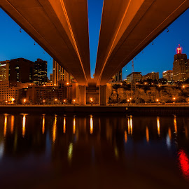 Wabasha Bridge and St. Paul Skyline by Chris Hurst - City,  Street & Park  Night ( water, minnesota, reflection, mississippi river, st paul, night, long exposure, river,  )