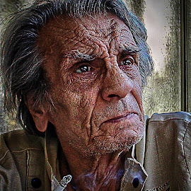 The old friend by Anton Donev - People Portraits of Men ( cigarette, old, nature, fac, wrinkly, skin, man, portrait )