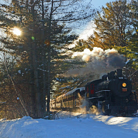 Snow Train 01 by Jeff Stallard - Transportation Trains ( snow, train, nh, north conway, steam )