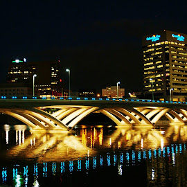 Bridge At Nite by John Watson - Buildings & Architecture Bridges & Suspended Structures
