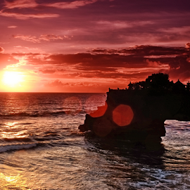Brightly Lit by Ferdinand Ludo - Landscapes Sunsets & Sunrises ( wonderful!, dark red skies, awesome sunset, tanah lot )