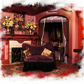 romantic red roomwe by Leslie Hunziker - Buildings & Architecture Other Interior ( victorian, red room )