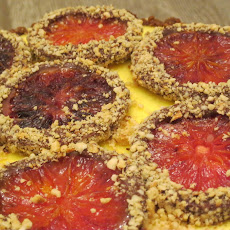 Hazelnut-Gingersnap crusted Ricotta Tarte with Candied Blood Oranges