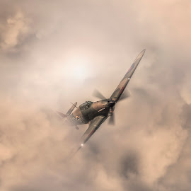 The Amazing Spitfire.  by Chris Paul - Transportation Airplanes ( amazing, world war ii, spitfire, sky, vintage, airplane, aircraft, fast, raf, classic )
