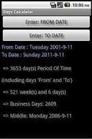 Screenshot of Days Calculator