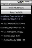 Screenshot of Days Calculator