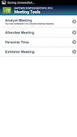 Screenshot of Gartner Events Navigator