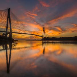 Batam Icon by Endra Sunarto - Landscapes Sunsets & Sunrises ( clouds, sunrise, bridge )