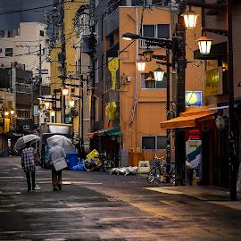 Rainy Asakusa by Rico Laurel - City,  Street & Park  Neighborhoods