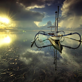 Boat and Reflections by Arya Satriawan - Transportation Boats ( clouds, reflection, sky, nature, color, national geographic, sunrise, transportation, landscape, boat )