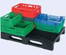 Vented crates on a pallet