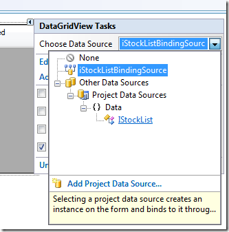 Where to select the IStockList data source for the DataGridView