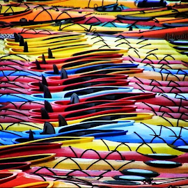 Kayaks by Linda Lovasco-Lavallee - Transportation Boats ( colorful, mood factory, vibrant, happiness, January, moods, emotions, inspiration )